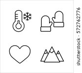 winter cold snow line icons set | Shutterstock .eps vector #572762776