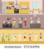 info graphic chef cooking in... | Shutterstock .eps vector #572764996