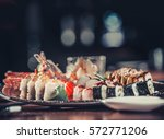 japanese seafood sushi on plate ... | Shutterstock . vector #572771206