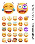 set of cute emoticons on white... | Shutterstock .eps vector #572787076