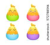 cute easter set of newborn... | Shutterstock .eps vector #572788546