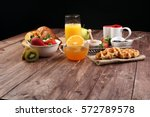 breakfast on table with waffles ...   Shutterstock . vector #572789578