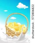 basket full of cheese floating... | Shutterstock .eps vector #572806822