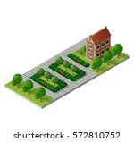 retro isometric country college ... | Shutterstock .eps vector #572810752