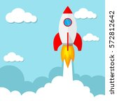 start up of the space rocket.... | Shutterstock .eps vector #572812642