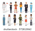 set of diverse occupation... | Shutterstock .eps vector #572813062