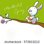 spring banner with singing bird ... | Shutterstock .eps vector #572813212