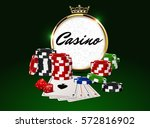 round casino golden frame with... | Shutterstock .eps vector #572816902
