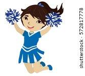 cute cheerleader jumps and... | Shutterstock .eps vector #572817778