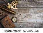 vintage still life with compass ... | Shutterstock . vector #572822368