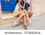 young beautiful hipster couple... | Shutterstock . vector #572832616