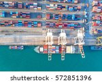 container container ship in... | Shutterstock . vector #572851396