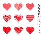 vector hearts set. sketch style. | Shutterstock .eps vector #572854348