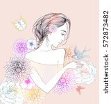 beautiful  women with abstract... | Shutterstock .eps vector #572873482