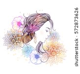 beautiful  women with abstract... | Shutterstock .eps vector #572873626