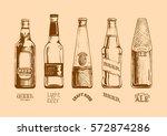 vector set of beer bottles and... | Shutterstock .eps vector #572874286