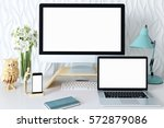 mock up screen devices in... | Shutterstock . vector #572879086
