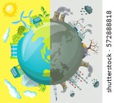 ecology cartoon comparative... | Shutterstock .eps vector #572888818