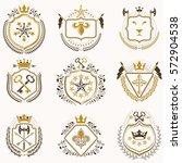 set of vector vintage emblems... | Shutterstock .eps vector #572904538