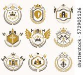 set of vector vintage emblems... | Shutterstock .eps vector #572905126