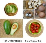 collage  vegetables. tomatoes ... | Shutterstock . vector #572911768