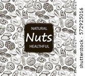 nuts set seamless pattern. hand ... | Shutterstock .eps vector #572925016