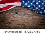 American Flag On Old Wooden...