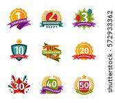 happy birthday badges vector... | Shutterstock .eps vector #572933362