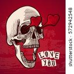 valentines card   vintage skull ... | Shutterstock .eps vector #572942548