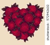 red roses heart in vintage... | Shutterstock .eps vector #572942632