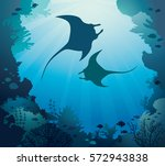 silhouette of two mantas and... | Shutterstock .eps vector #572943838