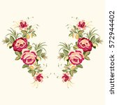 red roses embroidery with... | Shutterstock .eps vector #572944402
