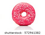 pink sweet round donut isolated ... | Shutterstock . vector #572961382