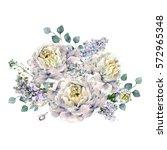 watercolor bouquet made of... | Shutterstock . vector #572965348