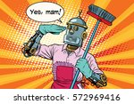yes mam robot and cleaning the... | Shutterstock .eps vector #572969416