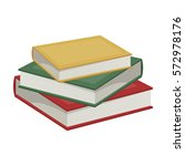 Stack Of Books Icon In Cartoon...
