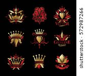 royal symbols  flowers  floral...   Shutterstock .eps vector #572987266