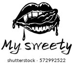 lips sexy vampire with fangs... | Shutterstock .eps vector #572992522
