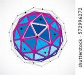 3d vector low poly spherical... | Shutterstock .eps vector #572996272