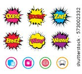 comic wow  oops  boom and wham... | Shutterstock .eps vector #573002332