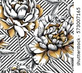 seamless pattern with silver... | Shutterstock .eps vector #573007165