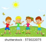 kids boys and girls are smiling ...   Shutterstock .eps vector #573022075