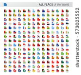 square corner world flags... | Shutterstock .eps vector #573025552