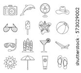 summer rest icons set. outline... | Shutterstock . vector #573029002