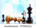 chess winner defeats white king ...   Shutterstock . vector #57303211