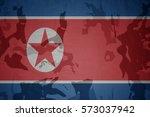 flag of north korea on the...   Shutterstock . vector #573037942