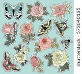 set of roses and butterfly... | Shutterstock .eps vector #573040135