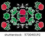 set of  flowers patches... | Shutterstock .eps vector #573040192