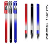 set of realistic ball pens in... | Shutterstock .eps vector #573041992