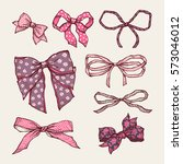 set of vintage bows. collection ... | Shutterstock .eps vector #573046012